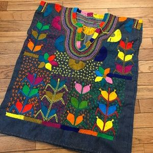 Denim Hand Embroidered Top